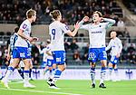 Stockholm 2015-03-05 Fotboll Svenska Cupen Djurg&aring;rdens IF - IFK Norrk&ouml;ping :  <br /> Norrk&ouml;pings Arn&oacute;r Ingvi Traustason gratuleras efter sin reducering till 1-3 av Alexander Fransson under matchen mellan Djurg&aring;rdens IF och IFK Norrk&ouml;ping <br /> (Foto: Kenta J&ouml;nsson) Nyckelord:  Djurg&aring;rden DIF Tele2 Arena Svenska Cupen Cup IFK Norrk&ouml;ping Peking jubel gl&auml;dje lycka glad happy