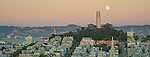 Pano of the full Moon rising behind the Coit Tower on Telegraph Hill, San Francisco, California
