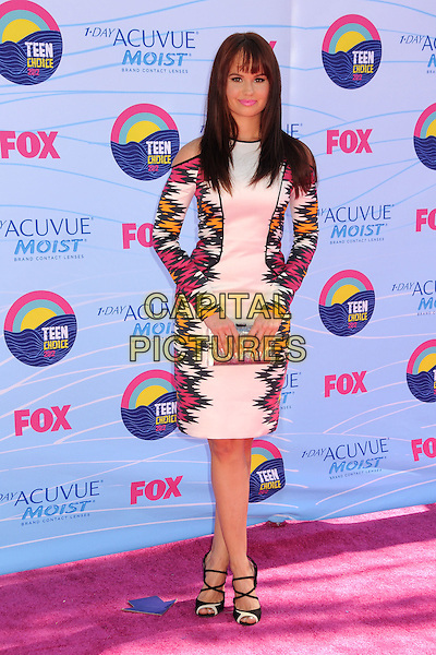 Debby Ryan.FOX's 2012 Teen Choice Awards held at The Gibson Ampitheatre in Universal City, California, USA..July 22nd, 2012.full length white black pink orange print dress clutch bag silver .CAP/ADM/BP.©Byron Purvis/AdMedia/Capital Pictures.