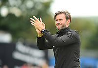 Lincoln City's assistant manager Nicky Cowley applauds the fans at the final whistle<br /> <br /> Photographer Andrew Vaughan/CameraSport<br /> <br /> The EFL Sky Bet League One - Macclesfield Town v Lincoln City - Saturday 15th September 2018 - Moss Rose - Macclesfield<br /> <br /> World Copyright &copy; 2018 CameraSport. All rights reserved. 43 Linden Ave. Countesthorpe. Leicester. England. LE8 5PG - Tel: +44 (0) 116 277 4147 - admin@camerasport.com - www.camerasport.com