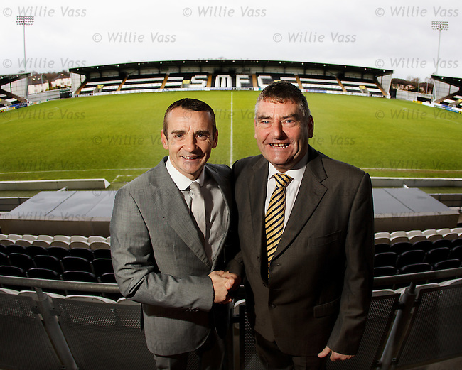 Manaager Danny Lennon with chairman Stewart Gilmour as he gets a new two year contract extension with St Mirren