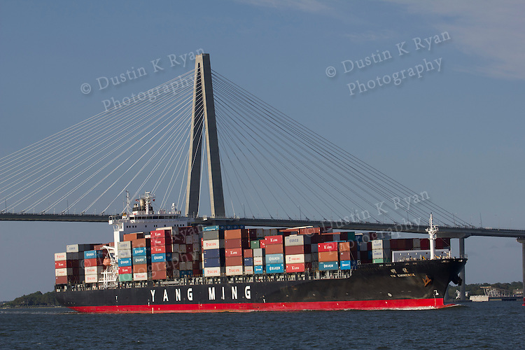 Arthur Ravenel Jr Bridge over the Cooper River Charleston SC Container Ship Yang Ming Container Ship YM Eminence,