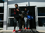 Kentucky Wildcats guard De'Aaron Fox and forward Bam Adebayo walk out of the Westin Hotel on their way over to the arena for their 2017 NCAA Men's Basketball Tournament South Regional Elite 8 game against the North Carolina Tar Heels at FedExForum in Memphis, TN on Friday March 24, 2017. Photo by Michael Reaves | Staff