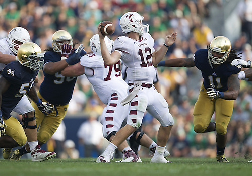 August 31, 2013:  Temple quarterback Connor Reilly (12) drops back to pass during NCAA Football game action between the Notre Dame Fighting Irish and the Temple Owls at Notre Dame Stadium in South Bend, Indiana.  Notre Dame defeated Temple 28-6.