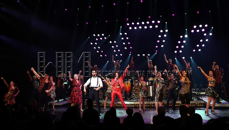 Alma Cuervo, Ektor Rivera, Ana Villafañe, Andréa Burns with cast of the Broadway production of 'On Your Feet!' celebrate their 500th performance at Marquis Hotel  on January 18, 2017 in New York City.