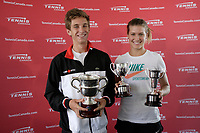 Filip Peliwo and Eugenie Bouchard adress the medias in Montreal, July 16, 2012, after their victory at Wimbledon.<br /> <br /> File Photo : Agence Quebec Presse - Pierre Roussel
