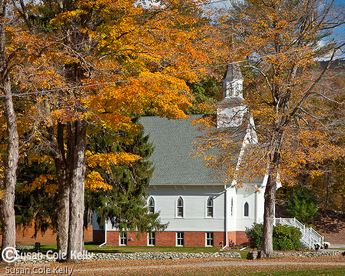 Fall foliage at St Bridget Church in Cornwall, CT, USA