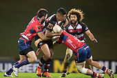 Nikolai Foliaki is tackled by Tim O'Malley and Alex Nankivelly. Mitre 10 Cup rugby game between Counties Manukau Steelers and Tasman Mako, played at Navigation Homes Stadium Pukekohe on Friday September 6th 2019. Tasman won the game 36 - 0 after leading 24 - 0 at halftime.<br /> Photo by Richard Spranger.