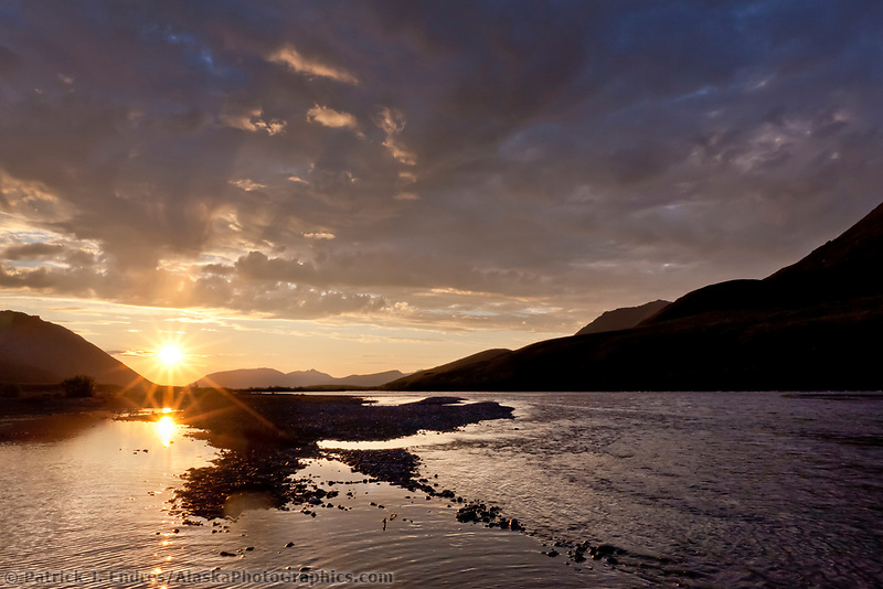 Midnight sun, Canning River, Arctic National Wildlife Refuge, Brooks Range mountains, Alaska.