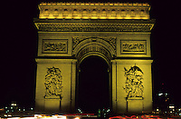Arc de Triomphe illuminated at night, Paris, France.