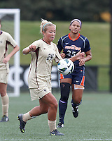 Boston College forward Rachel Davitt (24) works to clear ball. Pepperdine University defeated Boston College,1-0, at Soldiers Field Soccer Stadium, on September 29, 2012.