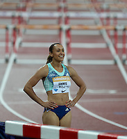 Jessica ENNIS HILL of GBR (Women's 100m Hurdles) keeps an eye on the board to see her time of 12.79 during the Sainsburys Anniversary Games Athletics Event at the Olympic Park, London, England on 24 July 2015. Photo by Andy Rowland.