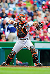1 May 2011: San Francisco Giants catcher Buster Posey in action against the Washington Nationals at Nationals Park in Washington, District of Columbia. The Nationals defeated the Giants 5-2. Mandatory Credit: Ed Wolfstein Photo