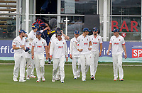 Tom Westley of Essex leads out the Essex team during Kent CCC vs Essex CCC, Friendly Match Cricket at The Spitfire Ground on 27th July 2020