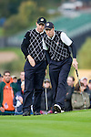 RYDER CUP 2010, CELTIC MANOR, WALES..Sunday fourballs..PADRAIG HARRINGTON AND ROSS FISHER..3-10-2010 PIC BY IAN MCILGORM