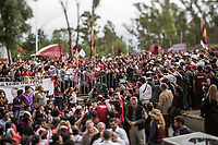 June 23, 2018: Andres Manuel Lopez Obrador, an opposition candidate of MORENA party running for presidency, during his campaign rally at Xanenetla park in Puebla City, Mexico. National elections will be hold on July 1.