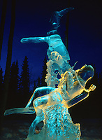 Shark and diver ice sculpture by Steve Dean, World Ice Sculpting Competition, Fairbanks, Alaska