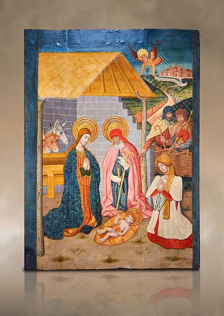 Gothic altarpiece ofthe Nativity from the workshop of Taller de Pere Garcia de Benavarri, circa 1475, tempera and gold leaf on for wood, from the church of Nostra Senyora de Baldos de Montanyana, Osca.  National Museum of Catalan Art, Barcelona, Spain, inv no: MNAC   114750-1. Against a art background.