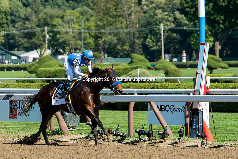 SARATOGA SPRINGS - AUGUST 27: Drefong #13, ridden by Mike Smith, wins the Ketel One King's Bishop Stakes on Travers Stakes Day at Saratoga Race Course on August 27, 2016 in Saratoga Springs, New York. (Photo by Dan Heary/Eclipse Sportswire/Getty Images)