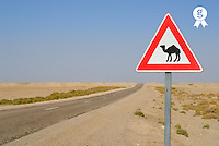 Tunisia, camels crossing road sign (Licence this image exclusively with Getty: http://www.gettyimages.com/detail/sb10065145bd-001 )