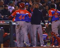 Anthony Garcia (44) de los Criollos de Caguas de Puerto Rico celebra carrera en el octavo inning del juego de béisbol de la Serie del Caribe contra los Tomateros de Culiacan de Mexico en Guadalajara, México,  viernes 2 feb 2018. (Foto AP / Luis Gutierrez)