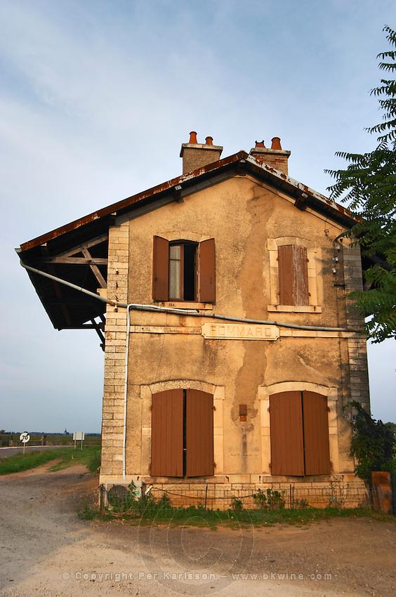 The abandoned Pommard train station. The village. Pommard, Cote de Beaune, d'Or, Burgundy, France