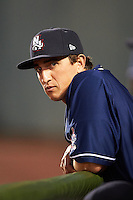 New Hampshire Fisher Cats Martin Medina (8) in the dugout during a game against the Harrisburg Senators on July 21, 2015 at Metro Bank Park in Harrisburg, Pennsylvania.  New Hampshire defeated Harrisburg 7-1.  (Mike Janes/Four Seam Images)