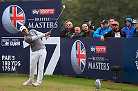 Adrian Saddier (FRA) on the 17th tee during Round 1of the Sky Sports British Masters at Walton Heath Golf Club in Tadworth, Surrey, England on Thursday 11th Oct 2018.<br /> Picture:  Thos Caffrey | Golffile<br /> <br /> All photo usage must carry mandatory copyright credit (© Golffile | Thos Caffrey)