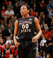 Florida State Seminoles forward Chasity Clayton (00) stands on the court during the game against Virginia Jan. 12, 2012 in Charlottesville, Va.  Virginia defeated Florida State 62-52.