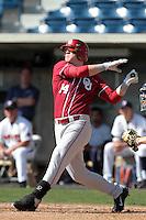 Matt Oberste (14) of the Oklahoma Sooners bats against the Pepperdine Waves at Eddy D. Field Stadium on February 18, 2012 in Malibu,California. Pepperdine defeated Oklahoma 10-0.(Larry Goren/Four Seam Images)