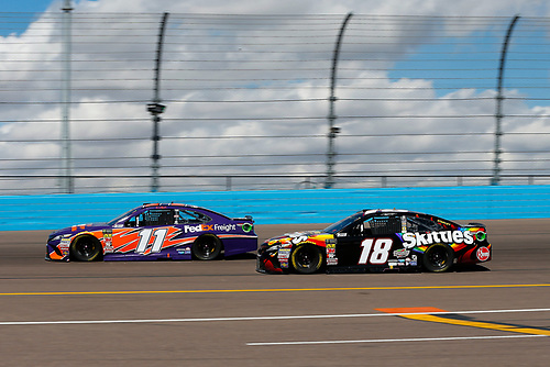 Monster Energy NASCAR Cup Series<br /> TicketGuardian 500<br /> ISM Raceway, Phoenix, AZ USA<br /> Sunday 11 March 2018<br /> Denny Hamlin, Joe Gibbs Racing, Toyota Camry FedEx Freight and Kyle Busch, Joe Gibbs Racing, Toyota Camry Skittles Sweet Heat<br /> World Copyright: Barry Cantrell<br /> NKP / LAT Images