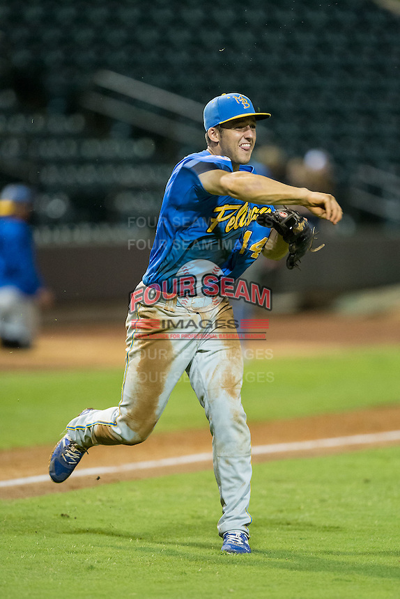 Myrtle Beach Pelicans third baseman Jason Vosler (44) makes a throw to first base against the Winston-Salem Dash at BB&T Ballpark on August 20, 2015 in Winston-Salem, North Carolina.  The Dash defeated the Pelicans 5-4 on a walk-off wild pitch in the bottom of the 9th inning.  (Brian Westerholt/Four Seam Images)