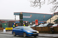 A general view of Crown Oil Arena home of Rochdale fc as car goes pass ahead of the Sky Bet League 1 match between Rochdale and Walsall at Spotland Stadium, Rochdale, England on 23 December 2017. Photo by Juel Miah / PRiME Media Images.