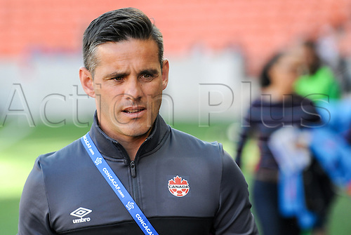 19.02.2016. Houston, TX, USA. Canada Head Coach John Herdman before the Women's Olympic qualifying soccer match between Canada and Costa Rica at BBVA Compass Stadium in Houston, Texas.