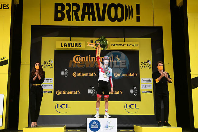 Tadej Pogacar (SLO) UAE Team Emirates wins Stage 9 of Tour de France 2020, running 153km from Pau to Laruns, France. 6th September 2020. <br /> Picture: ASO/Alex Broadway   Cyclefile<br /> All photos usage must carry mandatory copyright credit (© Cyclefile   ASO/Alex Broadway)