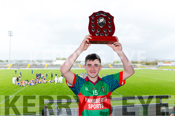 Lee Strand U16 County District Championship Football Plate Final Mid Kerry V Kenmare. winner Mid Kerry captain Shane Doona presented with the shield