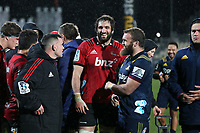 Crusaders captain Sam Whitelock is all smiles after the Super Rugby match between the Crusaders and Highlanders at Wyatt Crockett Stadium in Christchurch, New Zealand on Friday, 06 July 2018. Photo: Martin Hunter / lintottphoto.co.nz
