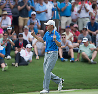 Jordan Spieth of the USA celebrates after winning the Emirates Australian Open Golf