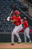 AZL Angels shortstop Jeremiah Jackson (8) at bat during an Arizona League game against the AZL Diamondbacks at Tempe Diablo Stadium on June 27, 2018 in Tempe, Arizona. AZL Angels defeated the AZL Diamondbacks 5-3. (Zachary Lucy/Four Seam Images)