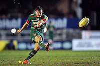 Freddie Burns of Leicester Tigers kicks for the posts. Aviva Premiership match, between Leicester Tigers and Gloucester Rugby on February 13, 2015 at Welford Road in Leicester, England. Photo by: Patrick Khachfe / JMP