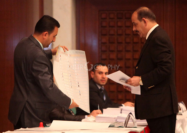 BAGHDAD, IRAQ:  Jawad Al-Bulani, the Iraqi Interior Minister votes in Baghdad...On March 7th, 2010, Iraq held nationwide parliamentary elections.