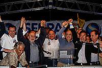 SAO PAULO, SP, 30 SETEMBRO 2012 - ELEICOES SP - JOSE SERRA - (E/D) Prefeito Gilberto Kassab, o  ex governadorAlberto Goldman, o governador Geraldo Alckmin e o canditato Jose Serra durante comicio do candidato a prefeitura de Sao Paulo Jose Serra, pelo PSDB na Vila Matilde, neste domingo, 30. (FOTO: VANESSA CARVALHO / BRAZIL PHOTO PRESS).