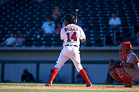 Mesa Solar Sox designated hitter Victor Robles (14), of the Washington Nationals organization, at bat in front of catcher Chad Tromp (55) during an Arizona Fall League game against the Scottsdale Scorpions on October 24, 2017 at Sloan Park in Mesa, Arizona. The Scorpions defeated the Solar Sox 3-1. (Zachary Lucy/Four Seam Images)