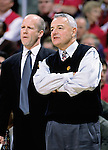 University of Wisconsin head coach Dick Bennett (right) and assistant Brad Soderberg during the Maryland game at the Bradley Center in Milwaukee, Wisc. on 11/29/00.  Bennett announced his retirement the following day, making Brad Soderberg the acting head coach for the remainder of the season. (Photo by David Stluka)