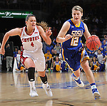 SIOUX FALLS, SD - MARCH 8:  Macy Miller #122 of South Dakota State drives past Tia Hemiller #4 of South Dakota during the women's championship game at the 2016 Summit League Tournament at the Denny Sanford Premier Center in Sioux Falls, S.D. (Photo by Dick Carlson/Inertia)