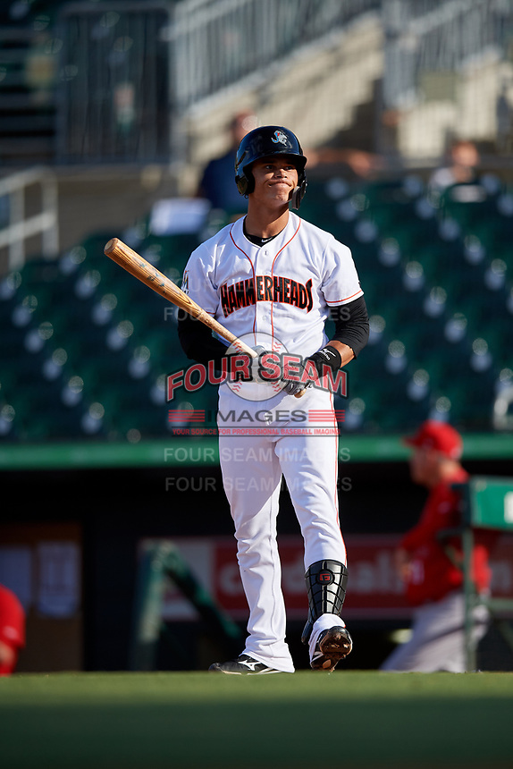 Jupiter Hammerheads shortstop Bryson Brigman (1) at bat during a game against the Palm Beach Cardinals on August 4, 2018 at Roger Dean Chevrolet Stadium in Jupiter, Florida.  Palm Beach defeated Jupiter 7-6.  (Mike Janes/Four Seam Images)
