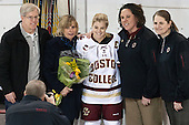 David Pfalzer, Jill Pfalzer, Emily Pfalzer (BC - 14), Courtney Kennedy (BC - Associate Head Coach), Katie King Crowley (BC - Head Coach) -  The Boston College Eagles defeated the visiting Boston University Terriers 5-0 on BC's senior night on Thursday, February 19, 2015, at Kelley Rink in Conte Forum in Chestnut Hill, Massachusetts.