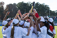 Cary, North Carolina - Sunday December 6, 2015: The Penn State Nittany Lions celebrate with the National Championship trophy following their win over the Duke Blue Devils at the 2015 NCAA Women's College Cup at WakeMed Soccer Park.  The Nittany Lions defeated the Blue Devils 1-0.