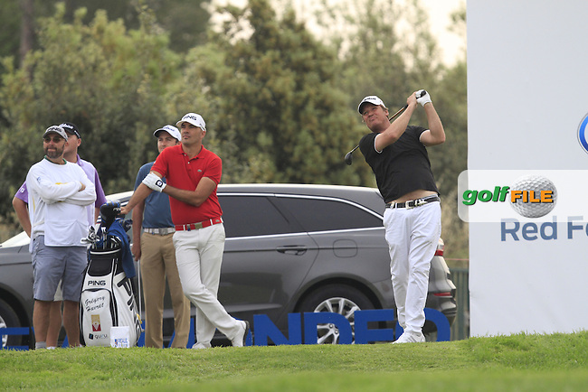 Jarmo Sandelin (SWE) on the 13th tee during Round 1 of the Open de Espana  in Club de Golf el Prat, Barcelona on Thursday 14th May 2015.<br /> Picture:  Thos Caffrey / www.golffile.ie