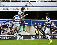 Blackburn Rovers' Bradley Dack (centre) competing in the air with Queens Park Rangers' Ryan Manning (left) <br /> <br /> Photographer Andrew Kearns/CameraSport<br /> <br /> The EFL Sky Bet Championship - Queens Park Rangers v Blackburn Rovers - Saturday 5th October 2019 - Loftus Road - London<br /> <br /> World Copyright © 2019 CameraSport. All rights reserved. 43 Linden Ave. Countesthorpe. Leicester. England. LE8 5PG - Tel: +44 (0) 116 277 4147 - admin@camerasport.com - www.camerasport.com